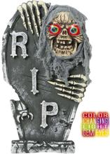 Gravstøtte med Hodeskalle & Blinkende Lys - Halloween Dekorasjon 60x35 cm