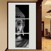 3 Stücke Abstrakte Spleißen Buddha Leinwand Wandkunst Gemalte Malerei Wohnkultur