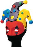 Färgglad Gycklarmask i Plast - Röd Med Gul/Svart/B