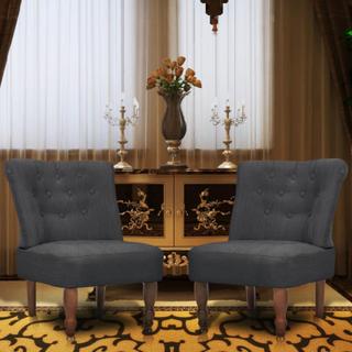 vidaXL Franske stoler 2 stk grå stoff