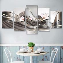 5 Stücke Leinwanddruck Moderne Bild Wandkunst Decor Home Abstrakte Blume Giclee Framed
