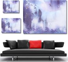 Lila Einhorn Magic Fly Pferd Leinwand abstrakte Wandkunst Bilder ungerahmt
