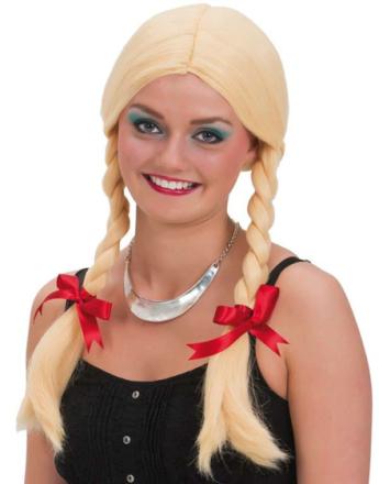 Blond Oktoberfestparykk med Musefletter og Røde Sløyfer