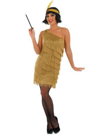 Gullfarget Flapper Lady Kostyme - STORE STØRRELSER