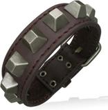 Armband med Fyrkantiga Nitar - Brun/Oxiderad