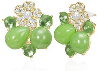 Lekre Gullfargede Øredobber med Stener og Grønne Perler
