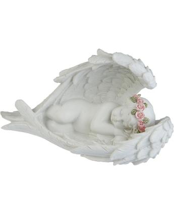 Drømmende Engel Beskyttet av Sine Vinger - 8x14 cm Figur