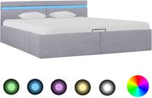 vidaXL Sängram med hydraulisk förvaring och LED ljusgrå tyg 180x200 cm