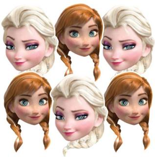 6 stk Pappmasker til Barn av Elsa og Anna - Frost - Disney Frozen