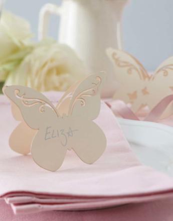 10 stk Beige Sommerfuglformede Bordkort - Butterfly Dream