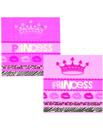 12 stk Små Servietter 25x25 cm - Party Princess
