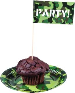 12 stk Party-Flagg til Kaker og Mat - Army Party