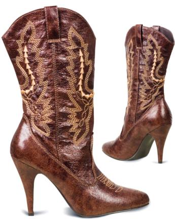 Lekre Brune Cowboy Boots med Broderi