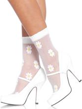Vita Sockor med Blommor