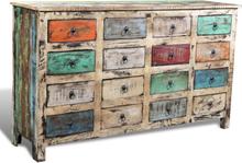 vidaXL Byrå antik återvunnet trä 16 lådor flerfärgad