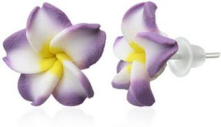 Hawaii Blomster - 15 mm Lilla og Hvite Stikk Øredobber