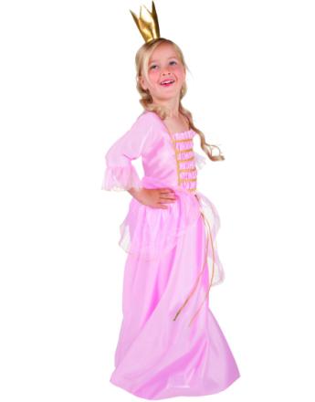 Rosa Prinsess Klänning med Guldfärgad Krona - Barnkostym