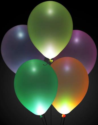 5 stk 30 cm - LED Ballonger i Assorterte Farger