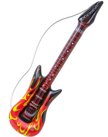 Oppblåsbar Rockestjerne Gitar med Flammer - 105 cm