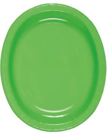8 stk Limegrønne Ovale Papptallerkener/Serveringsfat 31x25 cm