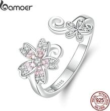 bamoer Sterling Silver 925 Pink Sakura Cherry Flower Open Adjustable Finger Rings for Women Romantic Wedding Jewelry BSR086