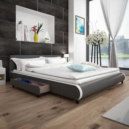 vidaXL Säng 180 x 200 cm med 2 lådor konstläder grå