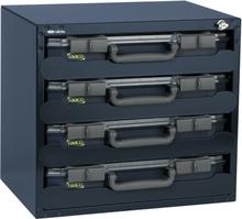 Raaco Sikkerhedskasse med 4 CarryLite 55 Sorteringskasser 136372