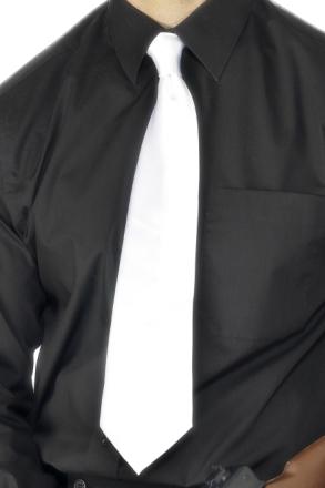 Hvitt Gangster Slips i Satin