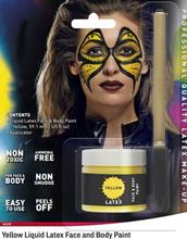 Gul Flytende Latex UTEN AMMONIAKK for Ansikt og Kropp med Svamp Kost 56 ml