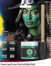 Grønn Flytende Latex UTEN AMMONIAKK for Ansikt og Kropp med Svamp Kost 56 ml
