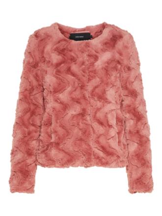 VERO MODA Synthetic Fur Jacket Women Red