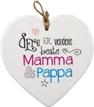 Verdens beste Mamma og Pappa - Porselenshjerte med Tekst 15 cm