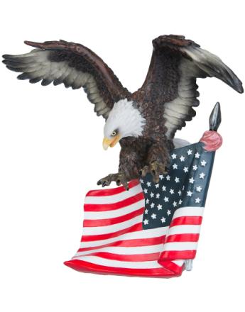 The Bald Eagel - Figur av Örn och Den Amerikanska Flaggan 28x28 cm