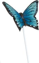 Turkis Sommerfugl Blomsterpinne med Figur - 20 cm