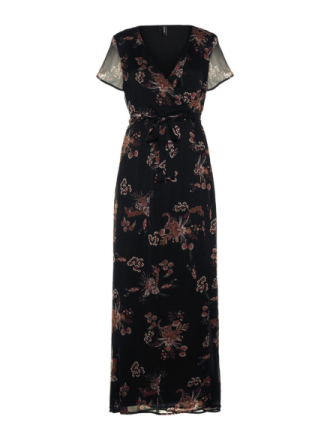 VERO MODA Short Sleeved Maxi Dress Women Black