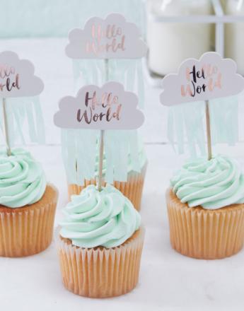 10 stk Cupcake/Kakedekorasjoner - Hello World