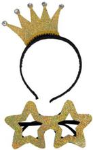 Set med Diadem med Guldfärgad Krona och Stjärnglasögon