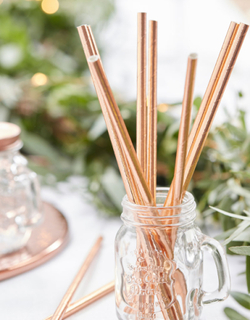 25 stk Rosè Gullfarget Sugerør - Botanisk Bryllup