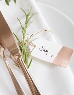 10 stk Tags med Folierte Partier - Botanisk Bryllup