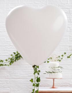 3 stk GIGANTISKE Hjerteformede Ballonger i Hvit 90 cm - Botanisk Bryllup