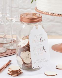 Wishing Jar/Gjestebok med 100 Trehjerter - Botanisk Bryllup