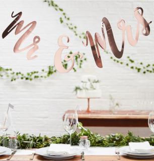 Mr og Mrs Rose Gullfarget Banner 1,5 Meter - Botanisk Bryllup