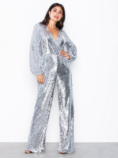 NLY Trend Fab Sequin Jumpsuit Jumpsuits Silver