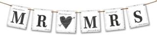 Bryllups Flaggbanner Mr & Mrs 77 cm