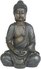 Sittende Buddhafigur i Mørk Brun 30 cm