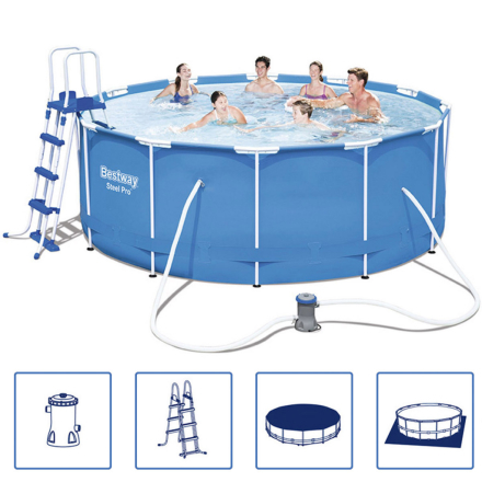 Bestway Steel Pro swimmingpool-sæt m. stålramme Rund 366x122 cm 56420