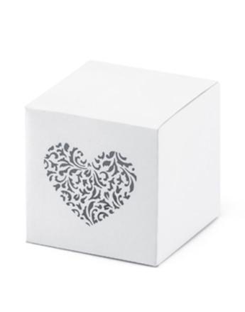 10 stk Hvite Firkantet Gaveesker med Hjerte 5x5x5 cm