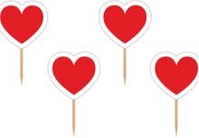 6 stk Røde Hjerter Kakedekorasjon - Marihøne