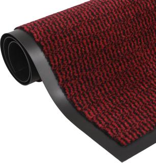 vidaXL måtte med støvkontrol rektangulær tuftet 60 x 90 cm rød