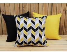 Zestaw 3 poszewek bawełnianych Geometric Yellow + żółty + czarny 40x40